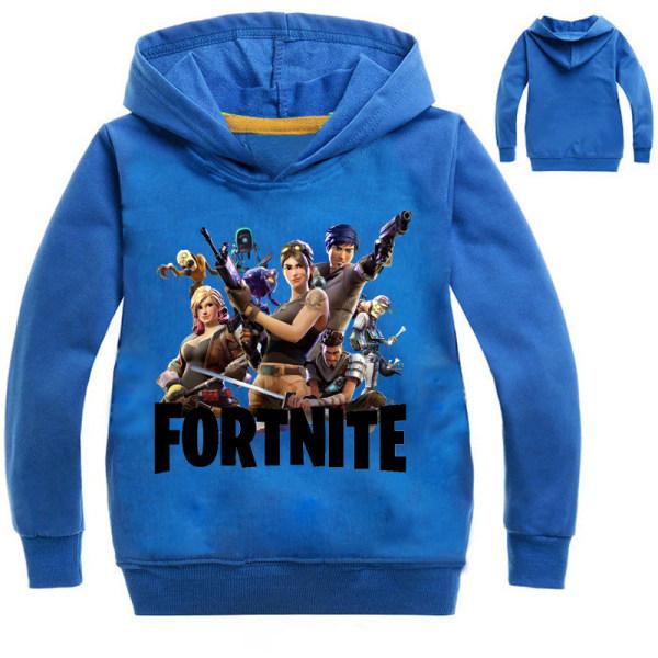 Fortnite långärmad tröja med anime -tryck med huva för barnklappar Deep blue 100cm