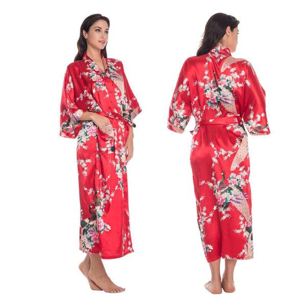 Kvinnors sexiga underkläder långärmade nattlinne ispyjamas Red M