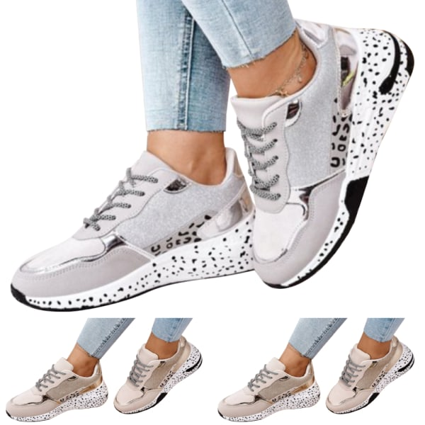 Mode andningsbara snörning plattform skor för kvinnor löpning Gray 39