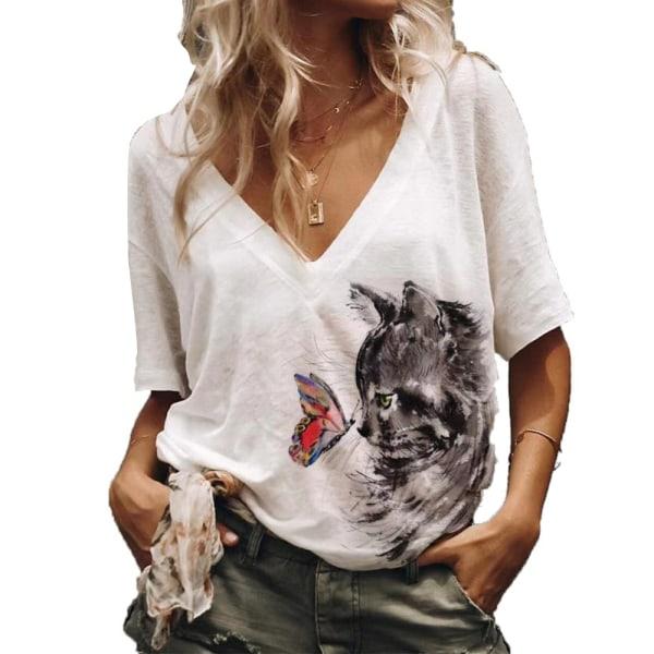 Mode kattutskrift Casual lösa V-ringade korta ärmar för kvinnor White XL