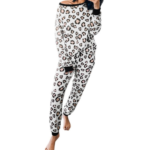 Mode Leopardmönster 2-delars uppsättning Dam Casual Loose Women's White M