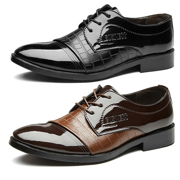 Mode män Oxfords läderskor spetsig tå black 39