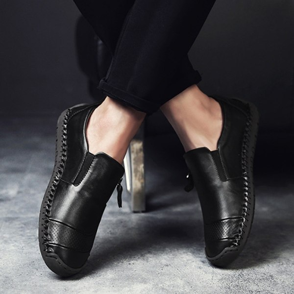 Mode Herrläder Loafers Casual Patchwork dark brown 47