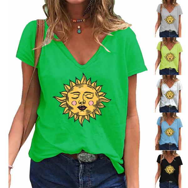 Mode Sommar Nya kvinnors soltryck Lös topp Casual T-shirt Blue S