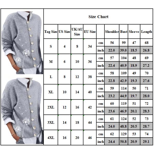 Fashionabla damtryckt långärmad tröja med knappknapp Gray S