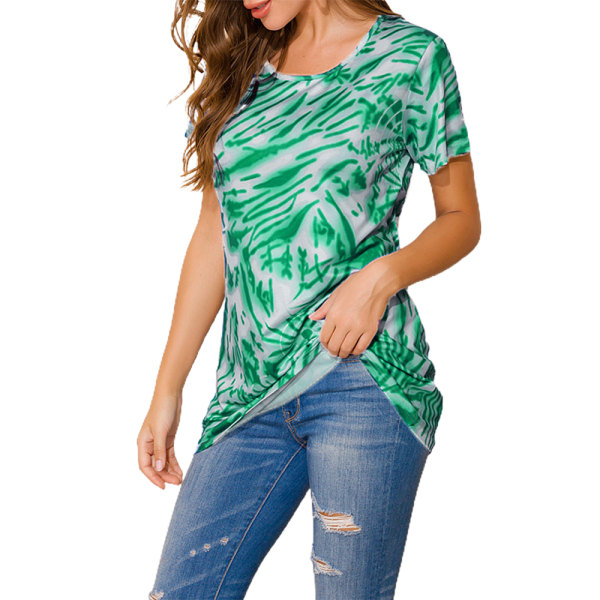 Fashionabla rund hals Casual kortärmad topp mors dag gåva Green 5XL