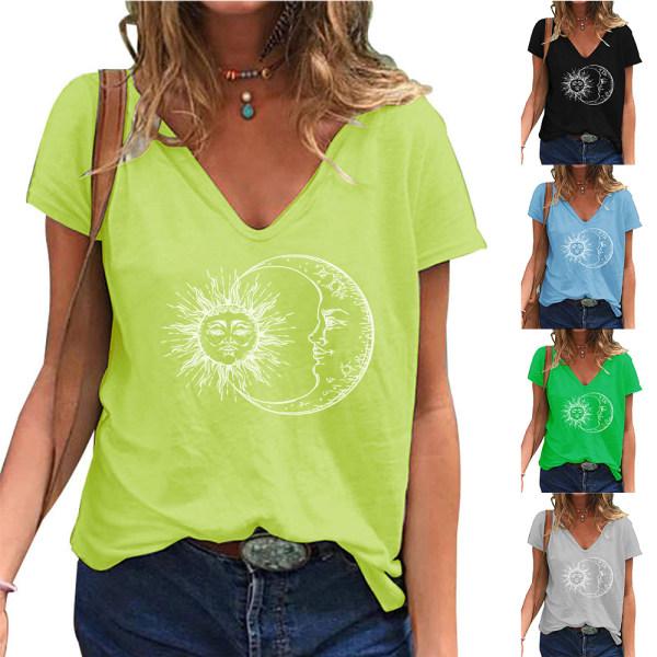 Fashionabla kvinnans V-ringning Kortärmad blus Casual pendling Green S
