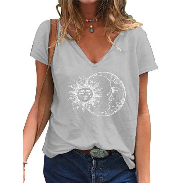 Fashionabla kvinnans V-ringning Kortärmad blus Casual pendling Gray XL