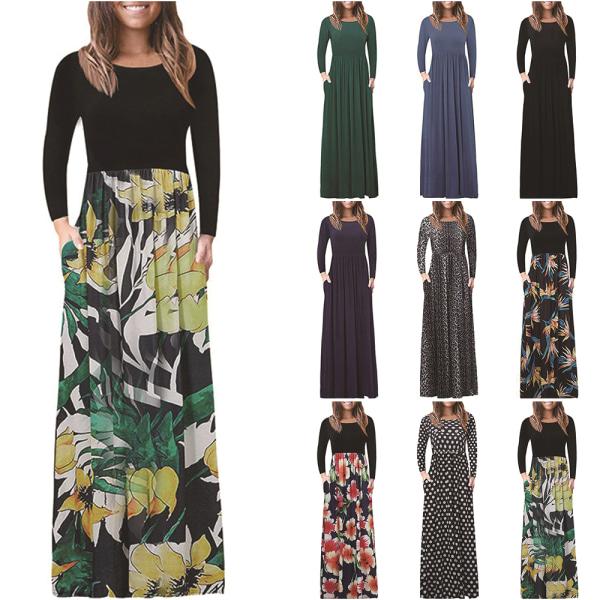 Kvinnlig hög midja lång kjol sömmar lös lätt Yellow flower XL