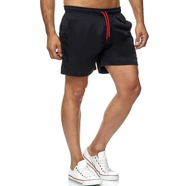 Fitness Lace-up Pocket Portable Shorts Träningsbyxor för män Black L