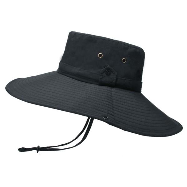 Flat-top enfärgad fiskarhatt med justerbart rep för män Black
