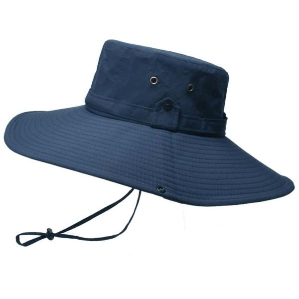 Flat-top enfärgad fiskarhatt med justerbart rep för män Navy blue
