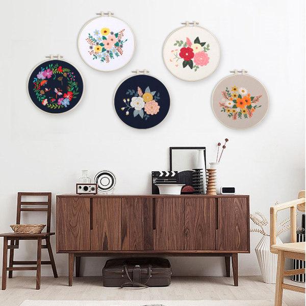 Blomma broderi målning hem kreativ vägg hängande dekoration Type C