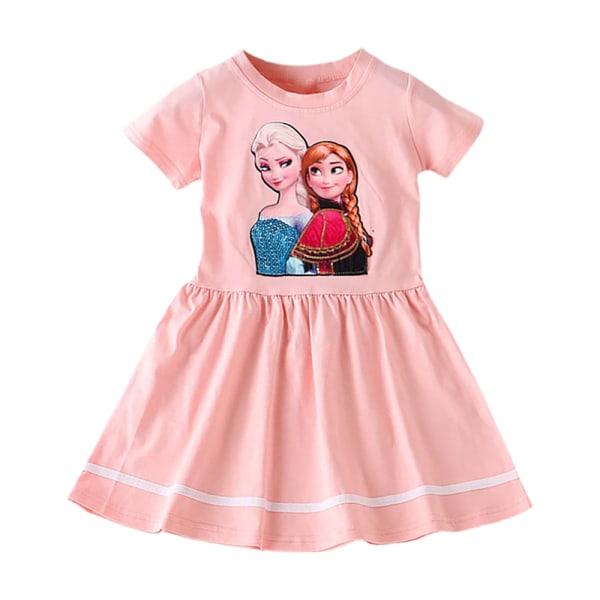 Frozen Princess Aisha Girl's Dress Round Neck Kortärmad kjol Pink 110CM