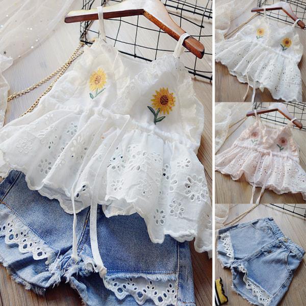 Flickas broderade sele denim kostym vit blus jeansshorts Pink 140CM