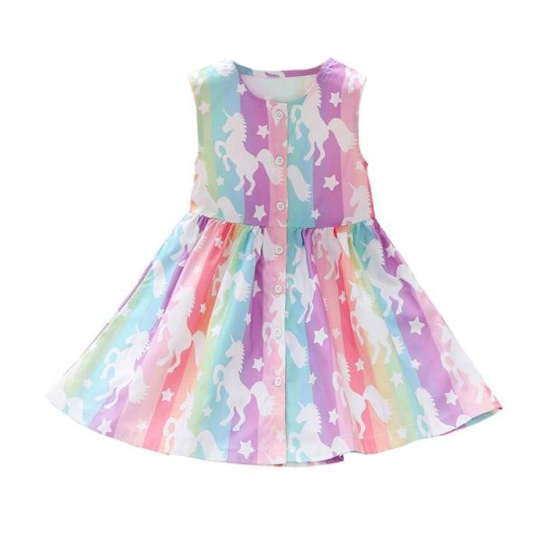 Flickans ärmlösa hög midja Unicorn Rainbow randig kjol 120CM