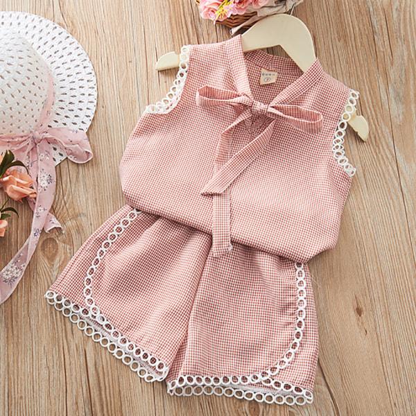 Flickor Casual Enfärgad rutig kostym Ärmlös topp och shorts Pink 130CM