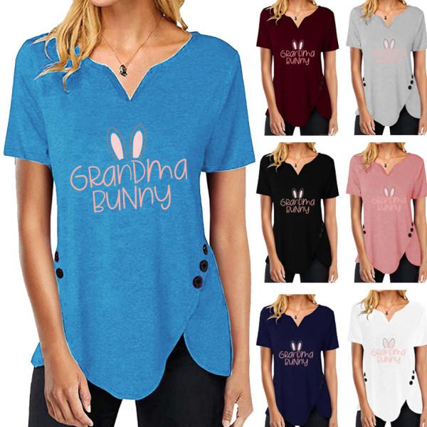 Glad påskskjorta för kvinnor Bunny Grafisk kortärmad T-shirt Blue 3XL