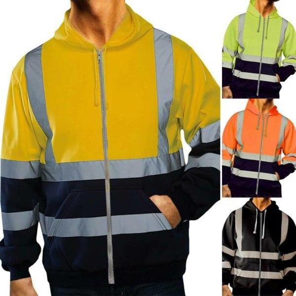 Hej Viz Visibility Män Varm Hooded Pullover Workwear Coat Green M