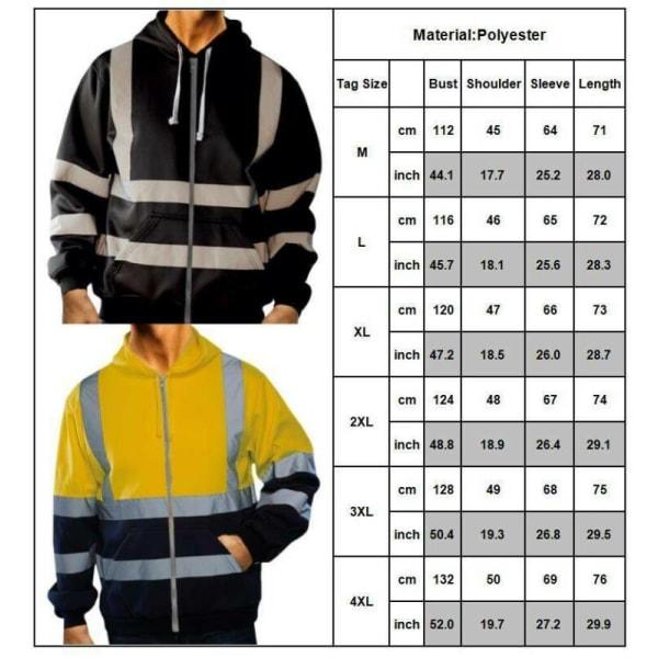 Hej Viz Visibility Män Varm Hooded Pullover Workwear Coat Black 2XL