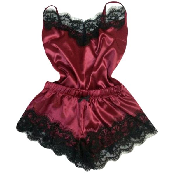 Hem Sling Pyjamas Satin Mjuk och slät sexig kostym för kvinnor Wine red 3XL