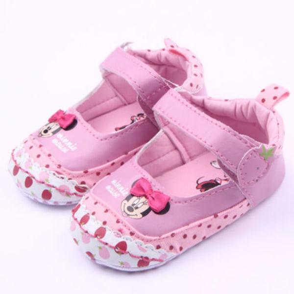 Spädbarn behandla som ett barn pojke handgjorda platta prickiga småbarnskor Pink 12