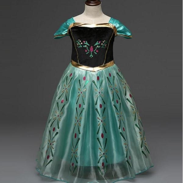 Kids Green Printed Mesh Princess Dress för flickor Party Cosplay Green 120