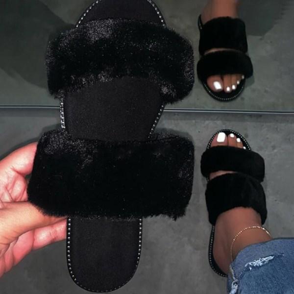 Kvinnor Home Fluffy Plush Tofflor Black 37