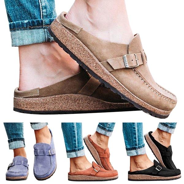 Kvinnor Shoes spänne Slip-on tofflor Brown 40