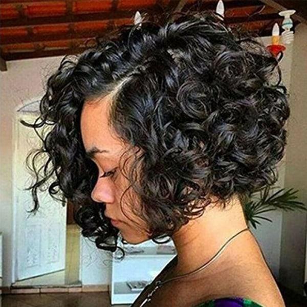 Kvinnamode damer svart lockigt kort hår snygga peruker Black