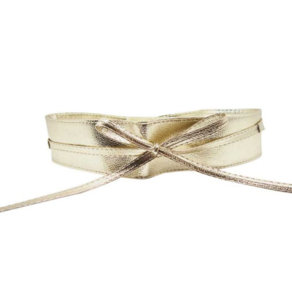 Ladies Bow Tie Straps Bright Leather Belt Adjustable Elasticity Golden
