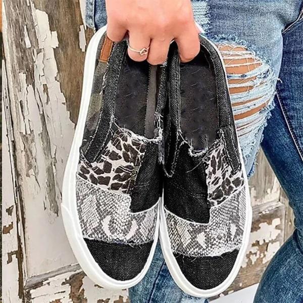 Damer Casual färgmatchande platta överdimensionerade leopardkanvasskor Grey 42