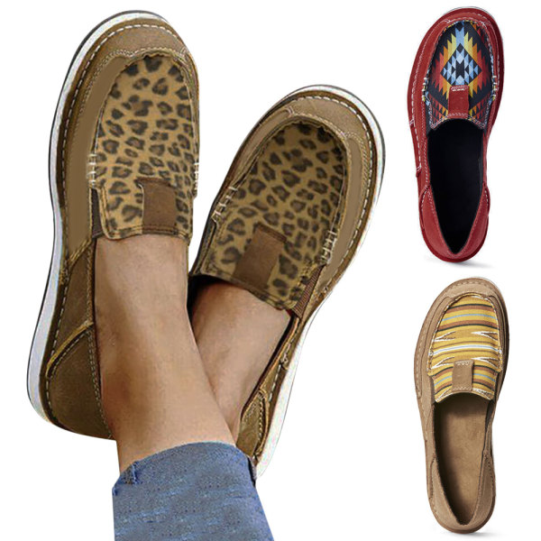 Ladies Casual Leopard Print Flat Shoes Brown 42