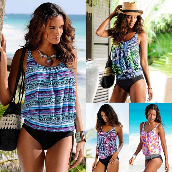 Damer konservativa Beach Print Split baddräkt vattensporter Green M