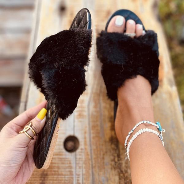 Ladies Cross Open Toe Plysch Sandaler Slip On Shoes Black 42