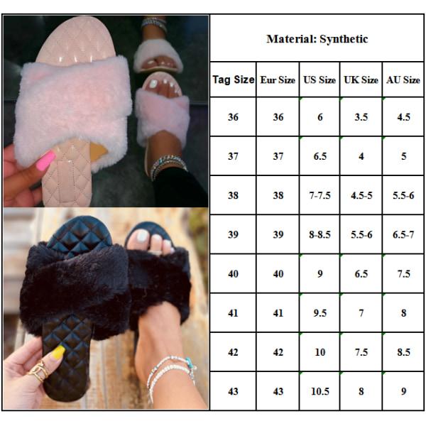 Ladies Cross Open Toe Plysch Sandaler Slip On Shoes Green 36