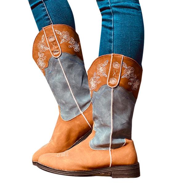Dam Faux mocka broderade kalv stövlar platt cowboy skor Brown-Blue 42
