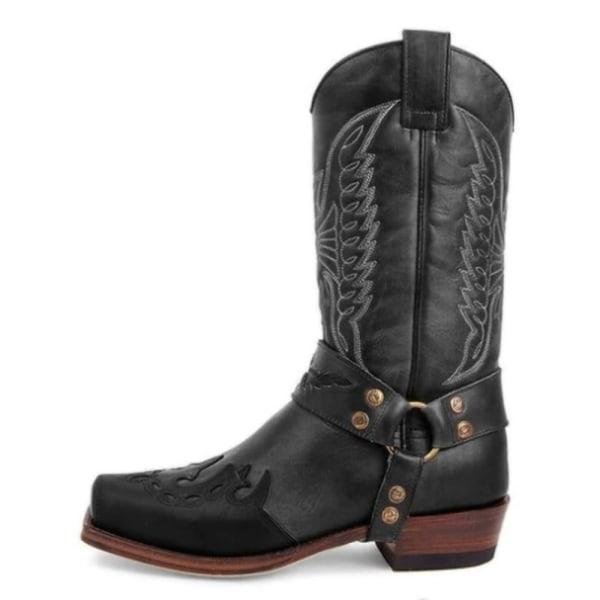 Kvinnor broderade Mid Calf Boot Western Cowboy Booties Shoes Black 37