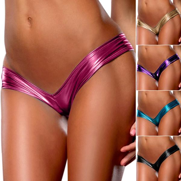 Dammodell Patentläder Sexiga trosor Charmiga Multicolor Purple S