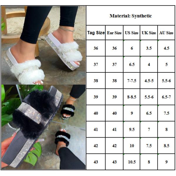 Damer Flat Heel Plysch Tofflor Diamond Fashion Winter Tofflor White 39