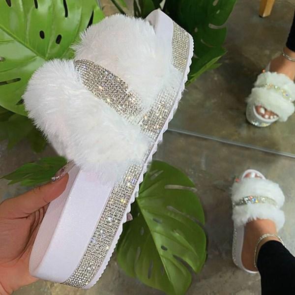 Damer Flat Heel Plysch Tofflor Diamond Fashion Winter Tofflor White 40