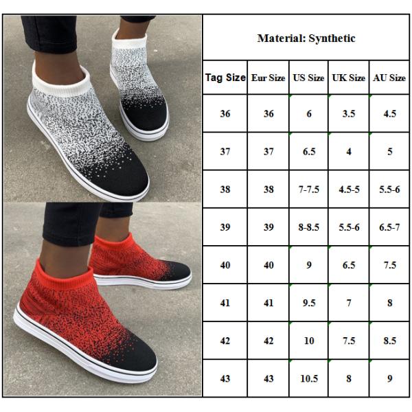 Ladies Gradient Color Socks Shoes Casual Skor Red 43