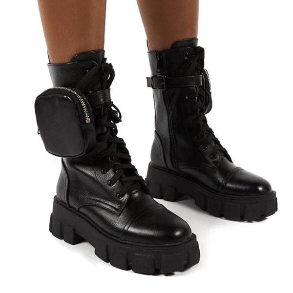 Kvinnor Combat Ankel stövlar Platform Goth Punk Zip snörning skor Black 38