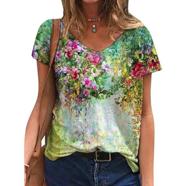 Dam T-shirt med blommönster och blommönster andas och mjukt Green S
