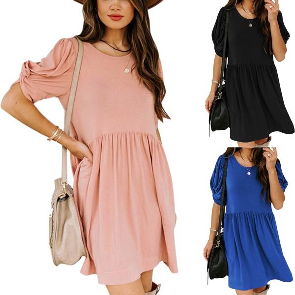 Dam sommar lös rund hals kort ärm enfärgad klänning Black S