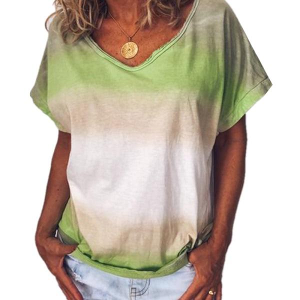 Ladies Summer Tie-dye Gradient Kortärmad andningsbar V-ringning Light green M