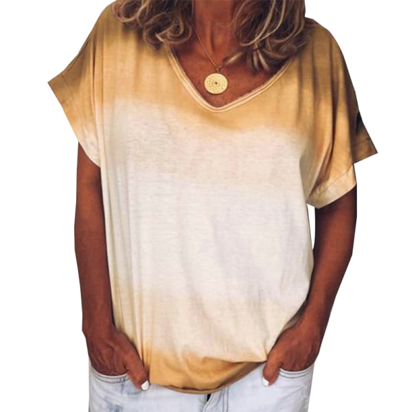Ladies Summer Tie-dye Gradient Kortärmad andningsbar V-ringning Yellow M