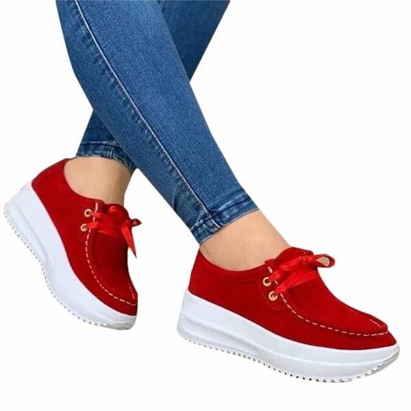 Ladies Thick Sole Sneakers Casual löparskor Yellow 43