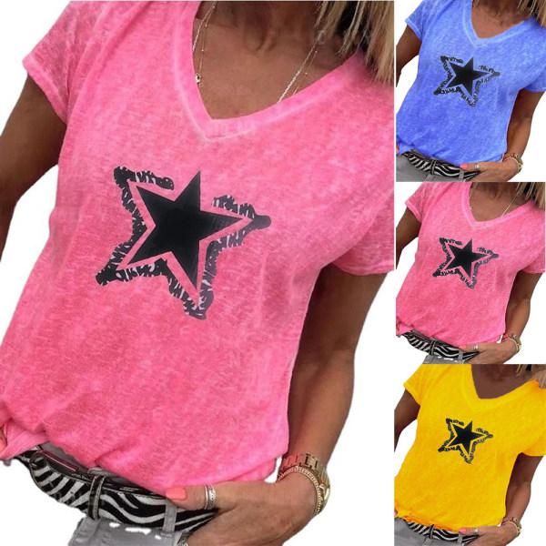 Ladies V-ringad Pentagram Print Stickad kortärmad T-shirt Red 3XL