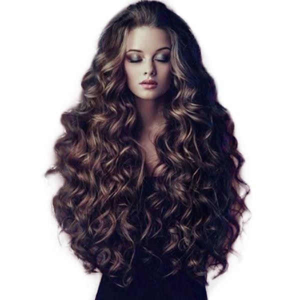 Ladies Wig Brown Wavy Long Curly Hair Fashionabelt charmigt Brown